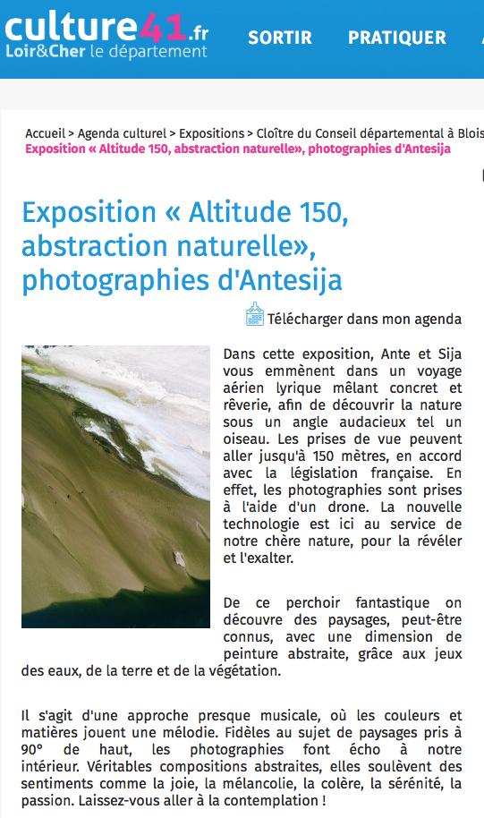 Culture41.fr – Exposition Altitude 150 dans le Loir et Cher – Avril 2019