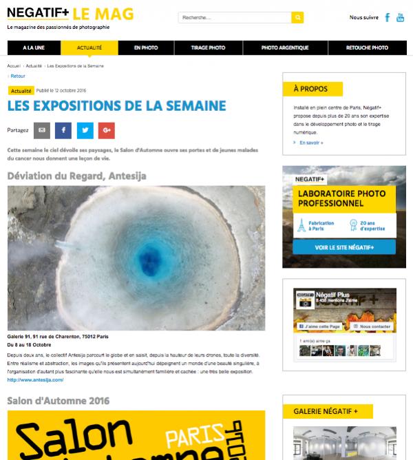 Exposition «Déviation du Regard» Négatif + LE MAG – Octobre 2016