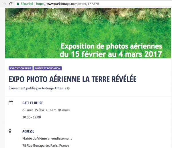 Exposition «La Terre Révélée» Site web Paris Bouge – Février-Mars 2017